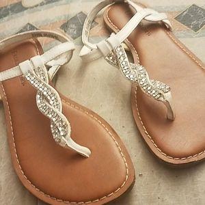 White w/ silver mesh sandals